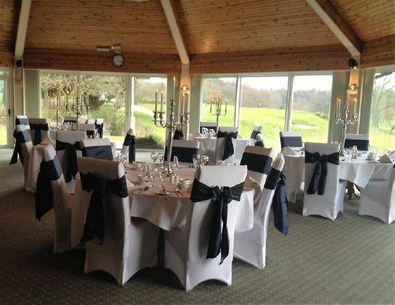 Tall Back Chair White Bespoke Covers Carlisle Golf Club With Navy Blue Taffeta