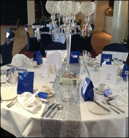 Silver Sequinned Table Runner to Hire | Carlisle | Cumbria | Greenhill  Hotel | Penrith