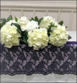 Scalloped Lace Runner in Purple|  to Hire | Carlisle | Cumbria | Lake District | Penrith | Gretna | Nationwide | UK