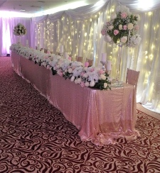 Rose Gold Sequinned Top Table Cloth | Carlisle | Cumbria | Lake District | Hire | wedding | Events | Roses & Hearts | Armwathwaite Hall