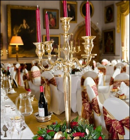 Gold Satin Table Runners to Hire | Wedding & Events | Shop Display | Cup Cake Display | Muncaster Castle | Carlisle | Cumbria | Lake District