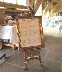 Gold Fancy Easel to Hire | Weddings | Events | Corporate Events | Carlisle | Cumbria | Lake District