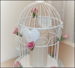 White Heart Bird Cage (H: 43cm W: 23.5cm) to hire | Wedding | Events | Carlisle | Cumbria | Tithe Barn | Rustic Hessian Wedding