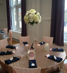 Rose (blush) Gold Sequinned Table Cloth | Carlisle | Cumbria | Hire | wedding | Events | Roses & Hearts