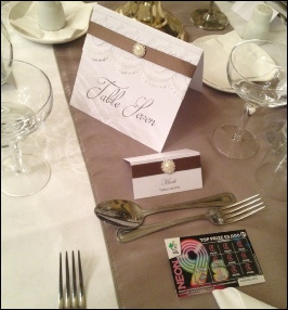 Wheat Taffeta Table Runner to Hire | Carlisle | Cumbria | Langley Castle Hotel | Hexham | Lake District
