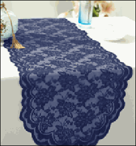 Navy Scalloped Lace Table Runner to Hire | Luxury | Carlisle | Cumbria | Race Course | Lake District