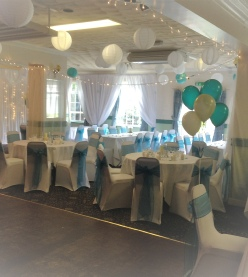 Chinese Lanterns in Teal & White | Hire | Wedding & Events | Carlisle | Cumbria | Lake District | Pinegrove Hotel