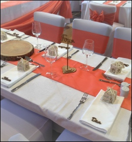 Coral Bespoke Table Runner|  to Hire | Carlisle | Cumbria | Lake District | Penrith | Gretna