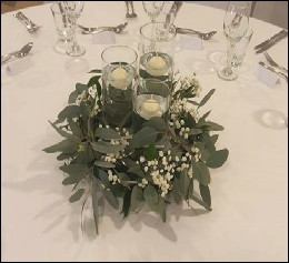 Cylinder Vases with eucalyptus wreath | Wedding Daffodil Hotel | Events | Carlisle | Cumbria | North West | Lake District | Gretna | Dumfries