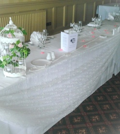 Ivory Lace Top Table Swags with Roses | Hire | Wedding & Events | Carlisle | Cumbria | Lake District | Gretna | Roundthorn Hotel