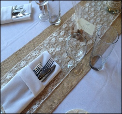 Hessian & Lace Table Runner | Rustic & Vingtage Wedding & Events | Carlisle | Cumbria | Lake District