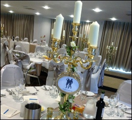 Gold 80cm Candelabra with gold frame and Pillar Candles to hire | Daffodil Hotel Grassmere | Disney Beauty & The Beast wedding |  Wedding | Events | Carlisle | Cumbria | Tithe Barn | Rustic Hessian Wedding