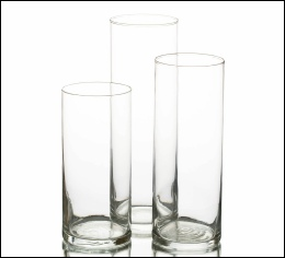 3 Size Cylinder Vases to Hire | Wedding | Events | Carlisle | Cumbria | Lake District | Event Dressers