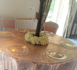 6ft Ivory Blossom Trees with silk Faux Flower Ring  | Rose Gold Sequinned Tablecloth |  Leeming House Wedding | Hire | Lake District | Carlisle | Cumbria | Scotland | Newcastle