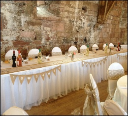 Bespoke Table Skirting to hire | Wedding | Events | Carlisle | Cumbria | Tithe Barn | Rustic Hessian Wedding