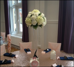 Tall Conical Vase 70cm with Faux Ivory Roses & Hydrangeas to hire | Golden Fleece Pub | Events | Wedding Carlisle | Cumbria | Heather Glenn Hotel | Event Dressers