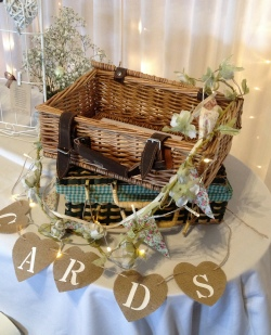 Rustic Hamper Post Boxes with Hessian Bunting, Rose Garlands and Cards Bunting to Hire