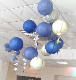 Blue & Silver Chinese Lanterns (Dr Who Theme) with Silver Metallic Stars | Greenhill Hotel Wigton | Hire | Wedding & Events | Carlisle | Cumbria | Lake District