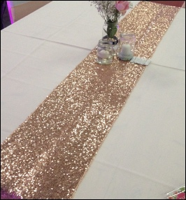 Rose Gold (also called blush gold) Table Runner|  to Hire | Carlisle | Cumbria | Old Fire Station | Lake District | Gretna