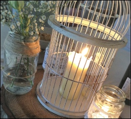 Ivory & Gold Small Bird Cage (H: 17.5cm W: 17.5cm) to hire | Wedding | Events | Carlisle | Cumbria | Tithe Barn | Rustic Hessian Wedding