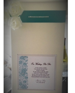 White Card Post Box with Individual Decor to suit couples colour scheme