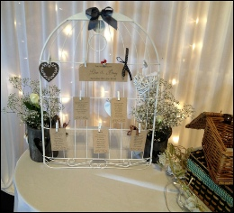 White Bird Cage Table Plan to hire | Wedding | Events | Carlisle | Cumbria | Creighton Rugby Club | Rustic Hessian Wedding