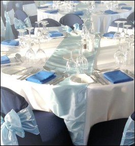Ice (pale) Blue Taffeta Table Runner to Hire | Carlisle | Cumbria | Race Course | Lake District