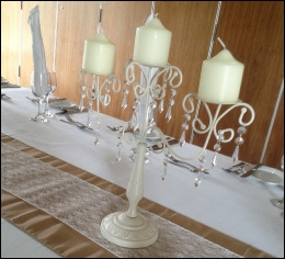 Ivory & Crystal Droplet Pillar Candle Candelabra to hire | Wedding | Events | Carlisle | Cumbria | Smith's Hotel Gretna | Rustic Hessian Wedding