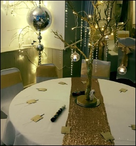 Champagne Gold Sequin Table Runner|  to Hire | Carlisle | Cumbria | Golden Fleece Rueholm | Penrith