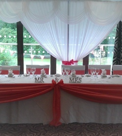 Bespoke Coral Table Swags (matching bunting Table Runners & Chair Sashes Available) | Hire | Wedding & Events | Carlisle | Cumbria | Lake District | Armathwaite Hall Hotel