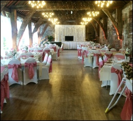 Bespoke Stage Skirting - Tithe Barn Carlisle  to hire | Wedding | Events | Carlisle | Cumbria | Tithe Barn | Rustic Hessian Wedding
